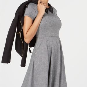 MAISON JULES Houndstooth Fit Flare Dress